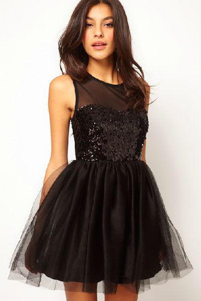 Black Party Sequin Skater Dress
