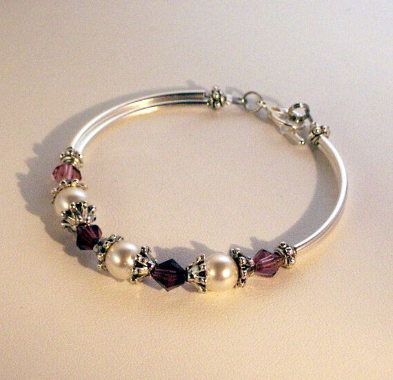 Swarovski Crystal and Pearls Jewelry - Brides Bridesmaid Maid of Honor Bracelet - SHIPS WITHIN 24 HRS