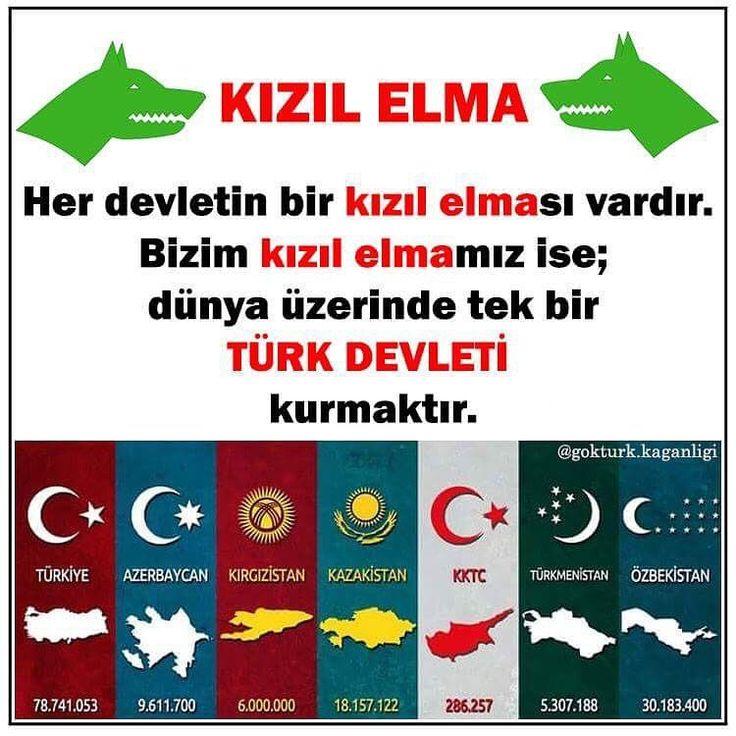 Kızıl Elma = Turan = Türk Birliği Amaç tüm Türkleri tek bayrak altında toplamak ve dünyaya hükmedecek Türk Devleti'ni kutmaktır.
