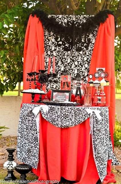 "Photo 1 of 19: RED AND BLACK DAMASK / Bridal/Wedding Shower ""SHOWERS OF BLESSINGS"" 