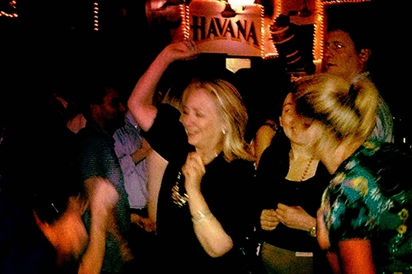 U.S. Secretary of State Hillary Clinton dances at Café Havana in Cartagena, Colombia, on April 15, 2012  AFP / GETTY IMAGES
