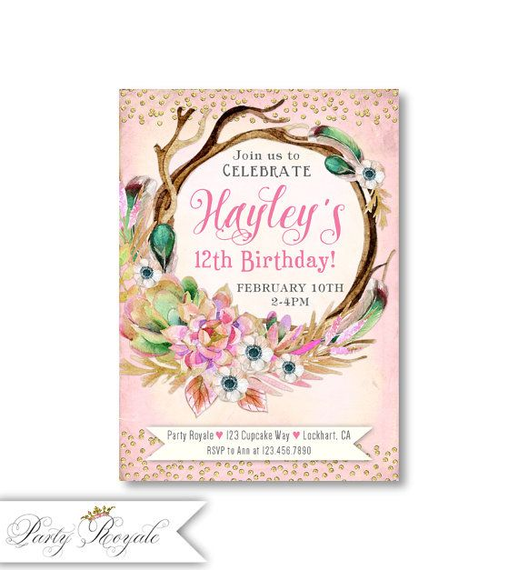 The 25 best Teen birthday invitations ideas – 12th Birthday Invitations