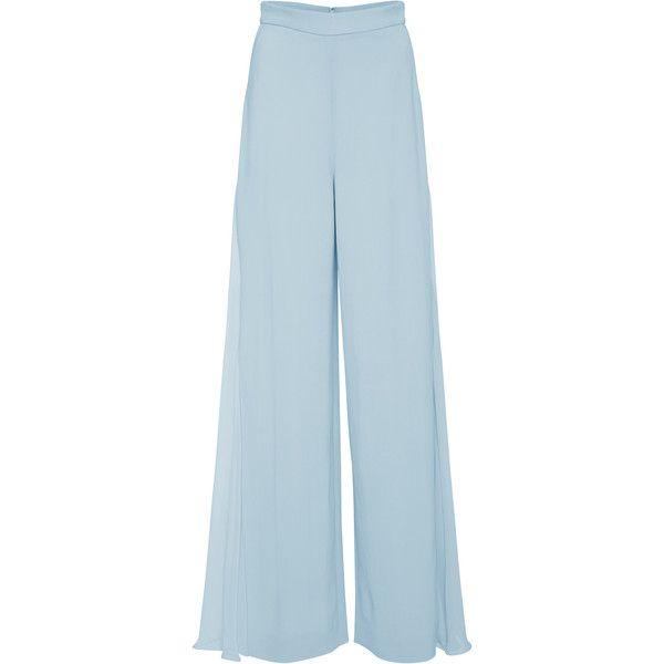 Phillipa Wide Leg Pant   Moda Operandi ($1,200) ❤ liked on Polyvore featuring pants, trousers, wide leg chiffon pants, mid rise pants, cushnie et ochs, chiffon pants and blue trousers
