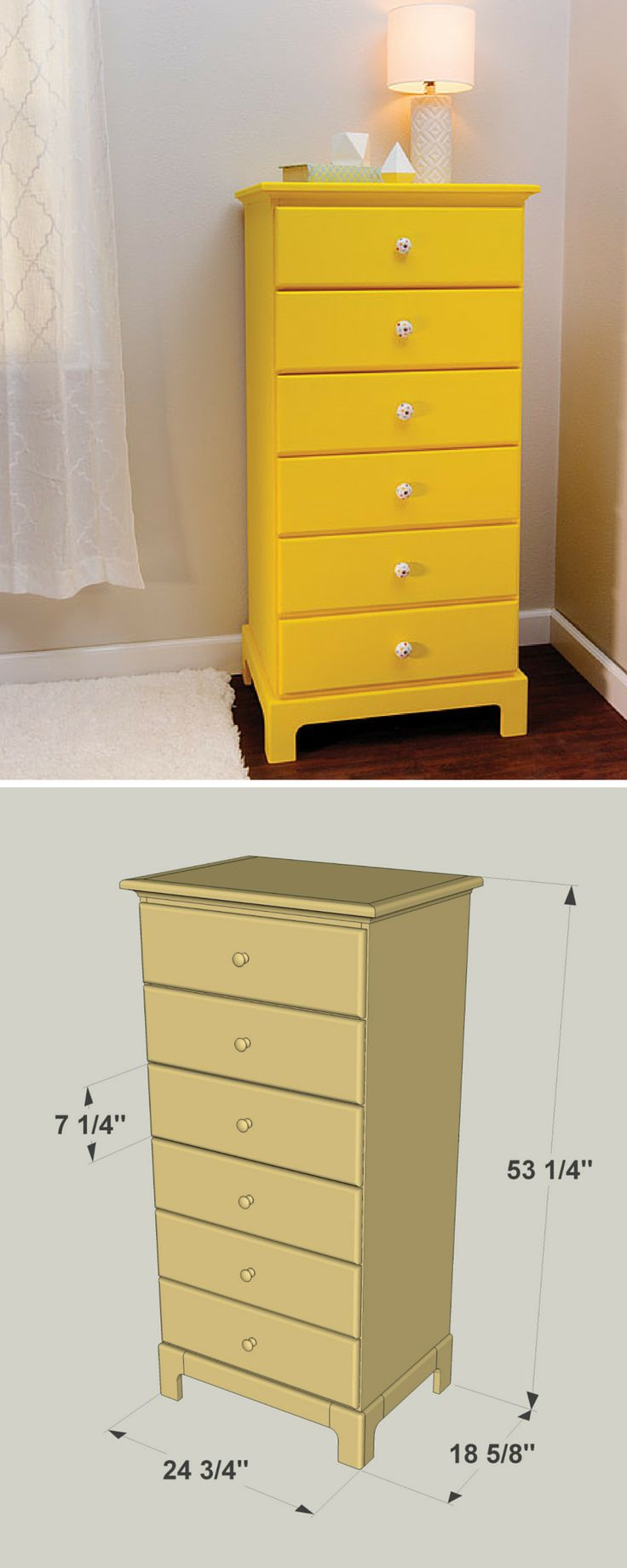 Here's a great way to pack a lot of clothes storage into a small space. This traditional tall chest has six generously sized drawers, but the whole piece fits into a space roughly two feet wide and less than two feet deep. The drawers ride on ball bearing slides for easy operation, too. Get the free DIY plans at buildsomething.com