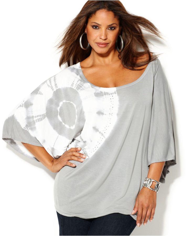 INC International Concepts Plus Size Top, Butterfly Sleeve Printed - Plus Size Tops - Plus Sizes - Macy's