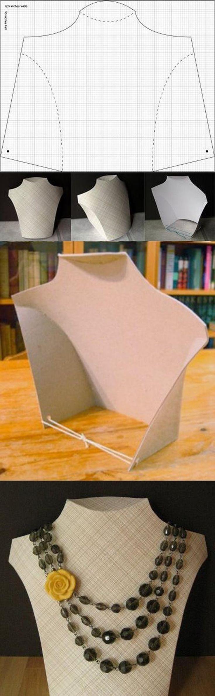 DIY Cardboard Necklace Display Tutorial and Pattern