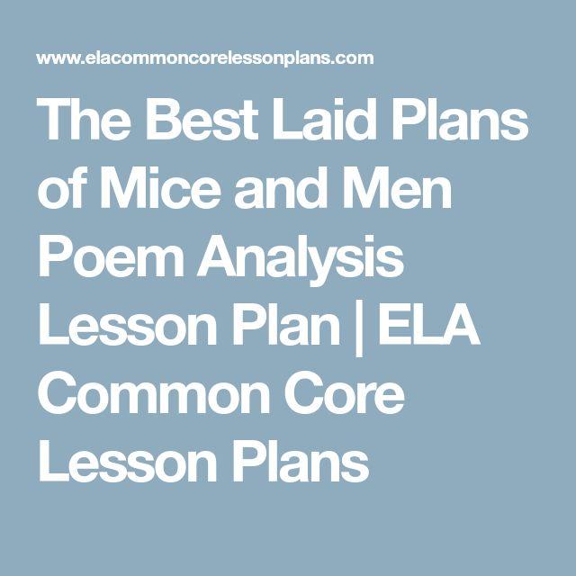 The Best Laid Plans of Mice and Men Poem Analysis Lesson Plan | ELA Common Core Lesson Plans
