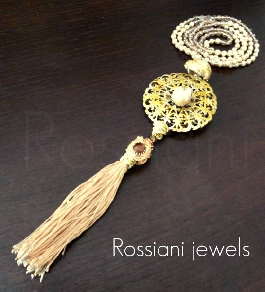 Les Chic - brass, tassel in cotton, crystals, pearls, amethist - Rossiani Jewels - Italian handmade jewels - Made in Italy