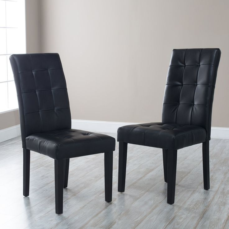 Martha Bonded Leather Parsons Dining Chair - Set of 2 - MARTHA-PRS-SC-BLK