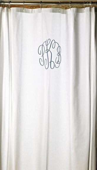 I have a very pretty white shower curtain and Belinda has a monogram machine...this will look GREAT in our now bathroom!