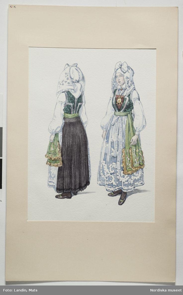 Festdräkt för gift kvinna Villands härad, Skåne. Akvarell av Emelie von Walterstorff. (E.v.Walterstorff).