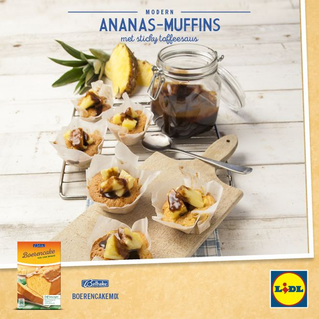 #Recept voor ananas-muffins met sticky toffeesaus #Lidl #Muffin