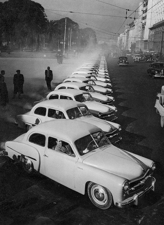 argentinavintage:  Buenos Aires. Exhibición de autos Sedan Justicialista, 1954.