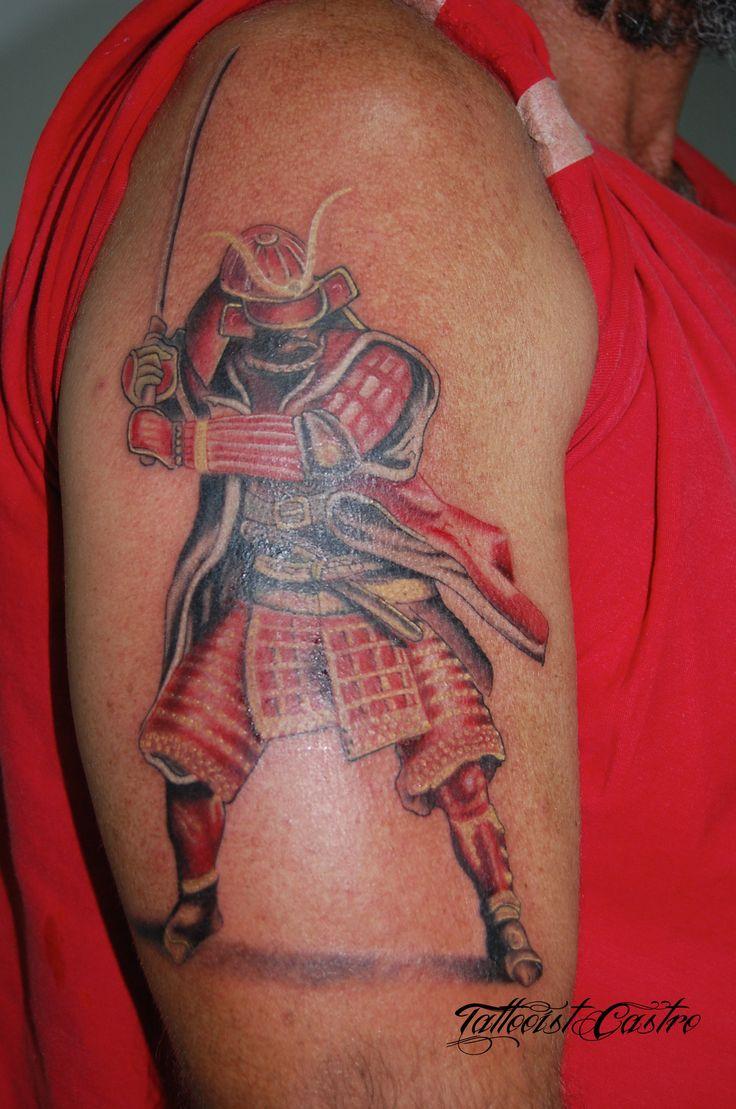 Samurai Color Tattoo on the arm, tatuaje de Samurai de colores en el brazo, made by Tattooist Castro King of Queens in Rodadero Ink