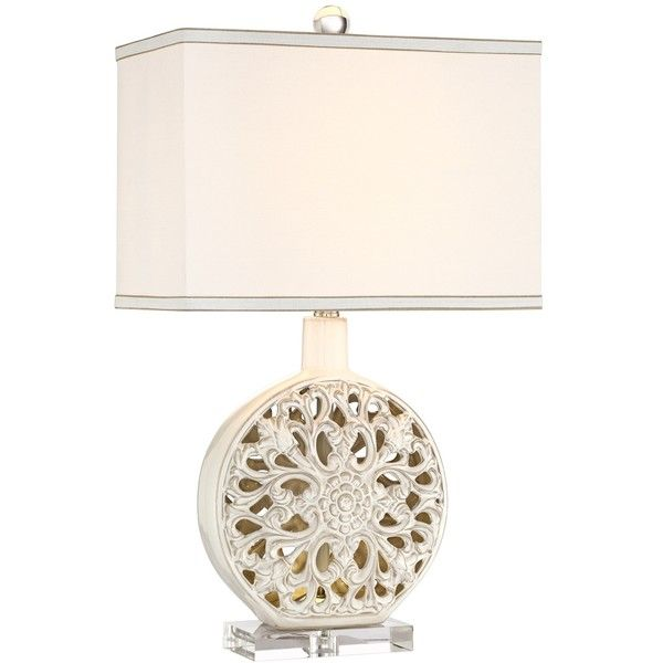 Possini Euro Cherie Ceramic LED Night Light Table Lamp ($110) ❤ Liked On  Polyvore Featuring Home, Lighting, Table Lamps, Beige, Cream Ceramic Lamp,  ...