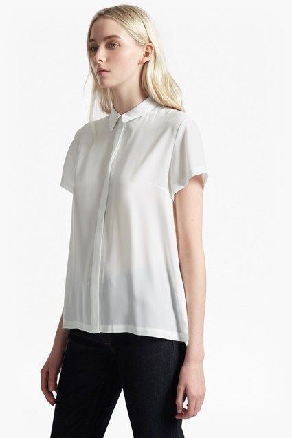 Classic Crepe Pleated Back Shirt | New Arrivals | French Connection Usa