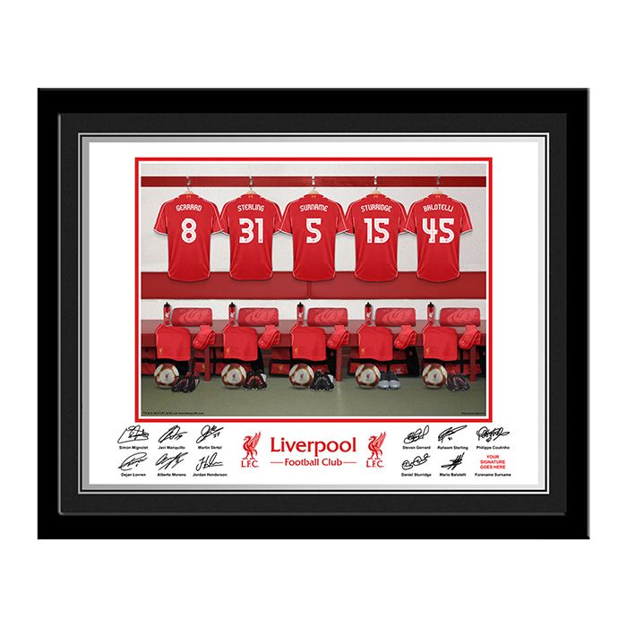 Personalised Liverpool FC dressing room frame   http://www.wedding-giftsonline.co.uk/liverpool-fc-dressing-room-frame-3920-p.asp