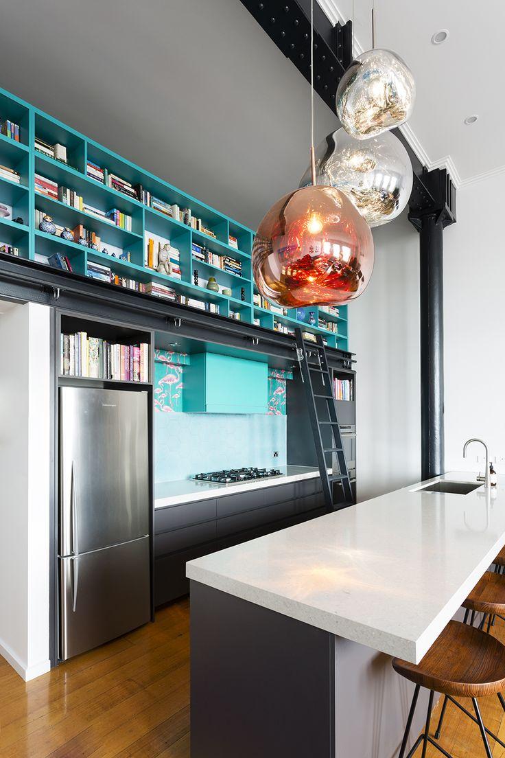 Kitchen with Tom Dixon lights. Design by Meredith Lee Interior Designer, photography by Elizabeth Schiavello.