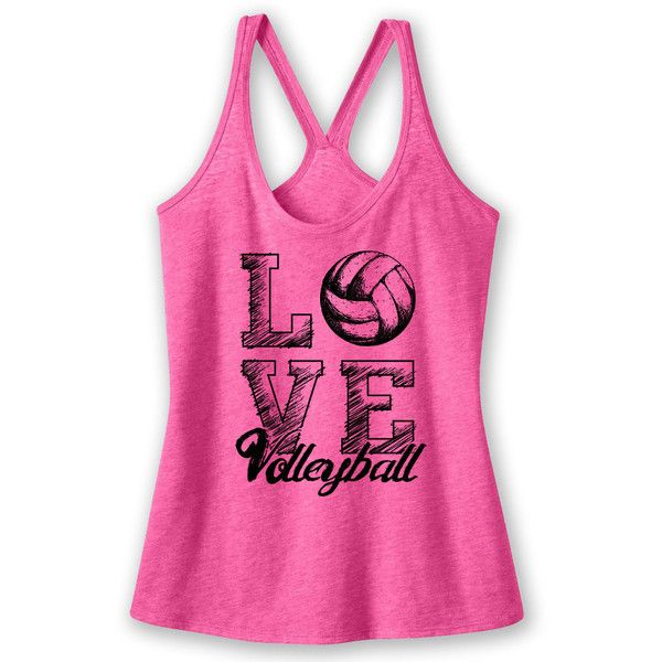 Love Volleyball Tank Volleyball Shirt ($13) ❤ liked on Polyvore featuring tops, pink, tanks, women's clothing, pink tank, pink tank top, shirt top, pink top and pink shirt