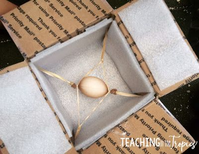 Have an egg drop experiment to learn about gravity and provide a fun STEM challenge for students! Students bring in a box with an egg inside and drop it from the highest point on the playground. The goal is to find a way to prevent the egg from breaking or cracking.