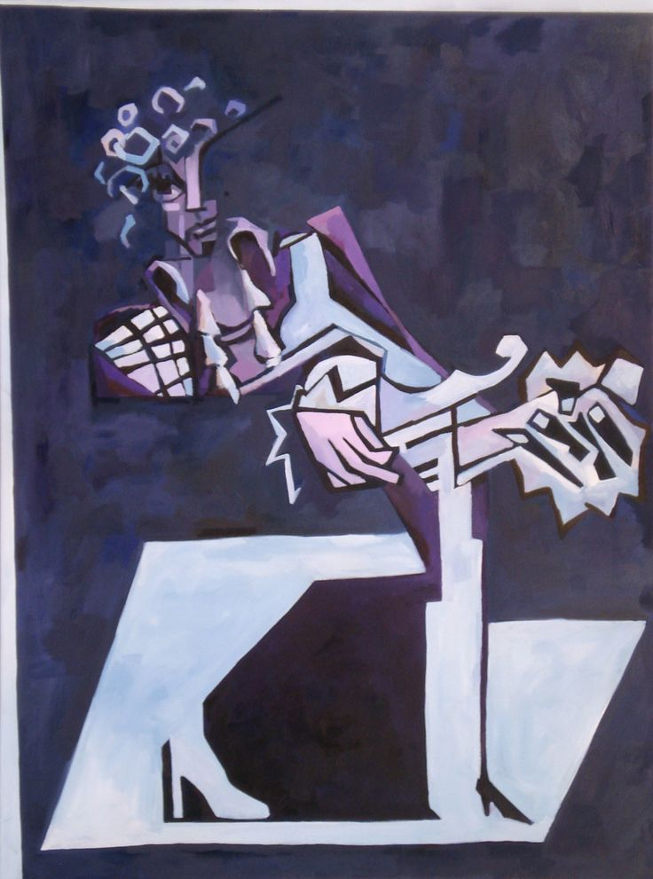 """Prince, Tyrone Rogers, 2016, oil on canvas, 36"""" x 48""""  Prince painting Prince art portrait cubist abstract purple one artist formerly known as Prince"""