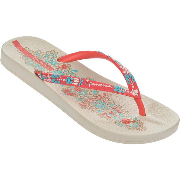 Ipanema Flip-flops - Ipanema Anatomic Lovely Vi Fem Beige/red ($26) ❤ liked on Polyvore featuring shoes, sandals, flip flops, beige, ipanema, ipanema flip flops, ipanema sandals, beige shoes and red shoes
