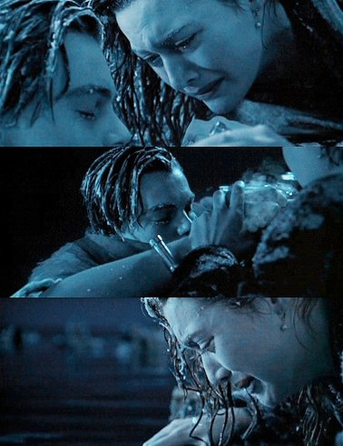 Jack and Rose from Titanic <3! This part is soooooooooooooooooooooooooooooooooooooooooooooooooooooooooooooooooooo sad, upsetting, and heart-breaking! This is where Jack dies and Rose tells him that she  will never let go of him and that she loves him soooooooooooo much! Once this part comes I cry until the very end of the movie!!!!!:(:(:(:(:(:(:(:(:(:(:(:(:(:(