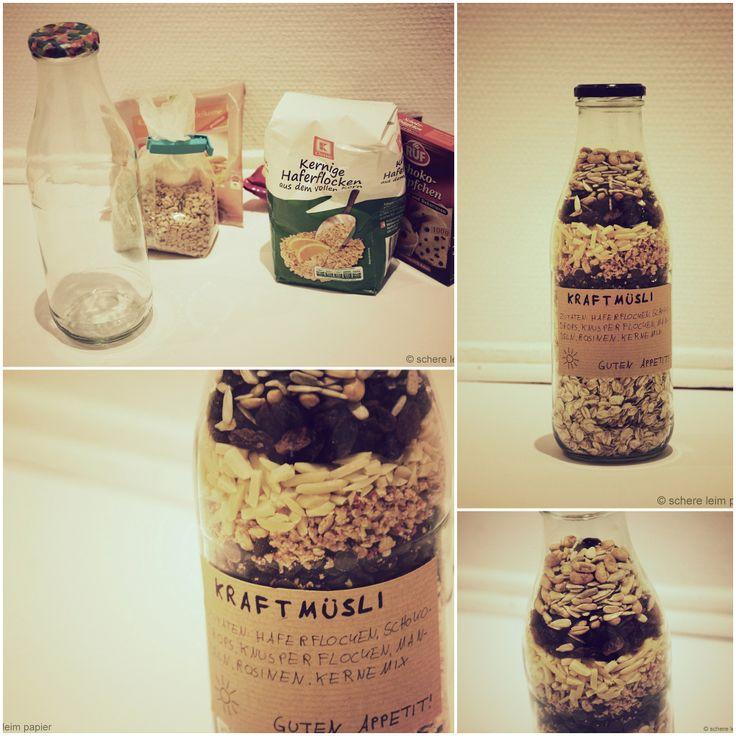 DIY Geschenk: Müsli in der Flasche / DIY present: cereals in a bottle