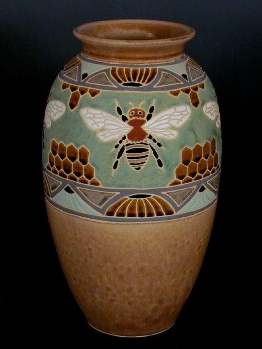 Common Ground Pottery Bee & Honeycomb Vase