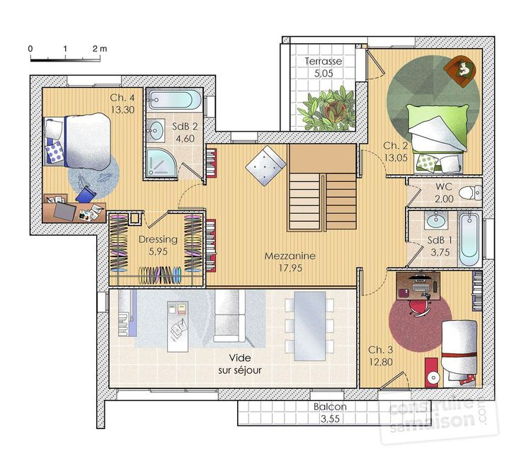 961 best Plans Maisons images on Pinterest Floor plans, Haciendas - plan maison etage 100m2