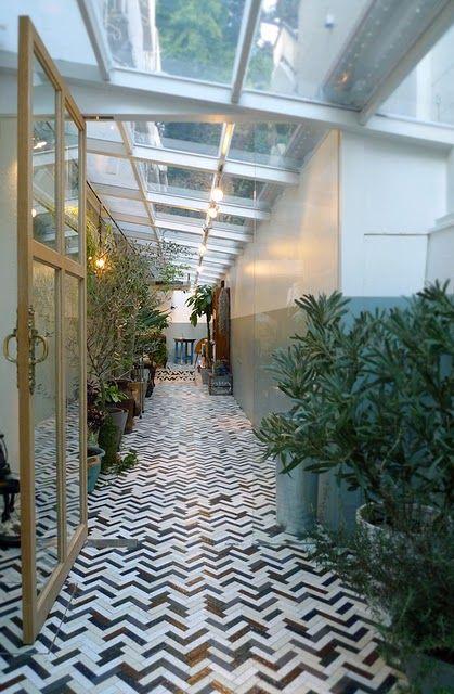 chevron-like tiled floors