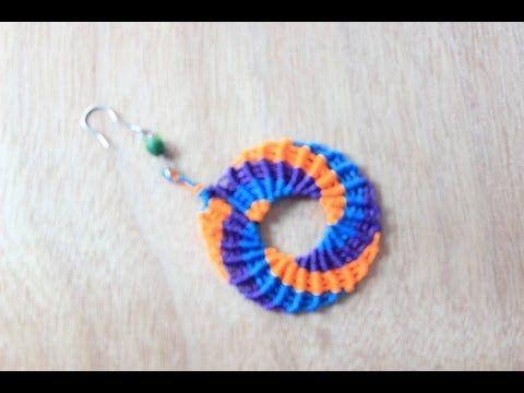 como hacer aros aretes zarcillos  en macrame circulares