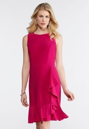 01d7559c6b3 Cato Fashions Plus Size Solid Ruffled Sheath Dress  CatoFashions ...