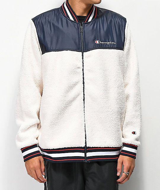 b56adcaccae9 Champion Cream Sherpa Baseball Jacket