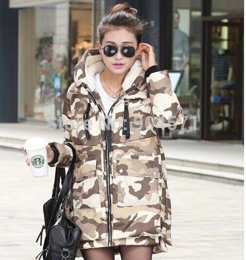 Nouvelle Hiver Femmes Camouflage Parka Vers Le Bas Veste Manteau Long À Capuche Chaud Outwear De Mode Épais Pardessus Militaire Conception