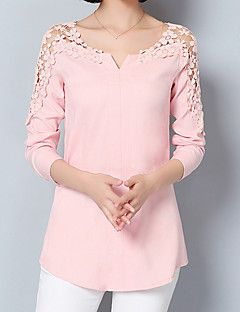 Women's Going out Formal Work Sexy Street chic Sophisticated All Seasons Spring Shirt,Solid Asymmetrical Long Sleeve Blue Pink White Green – USD $ 13.99 Supernatural Sty