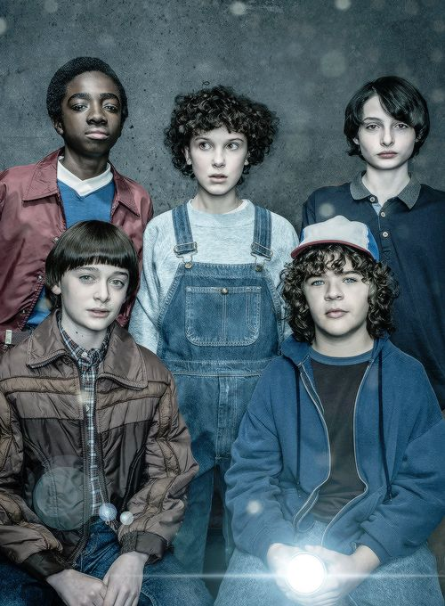Noah Schnapp, Caleb McLaughlin, Millie Bobby Brown, Finn Wolfhard, and Gaten Matarazzo photographed for EW Magazine.