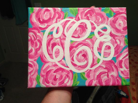Hand Painted Lilly Pulitzer Inspired Print with Custom Hand Painted Monogram. Can Have a Different Background if Desired.