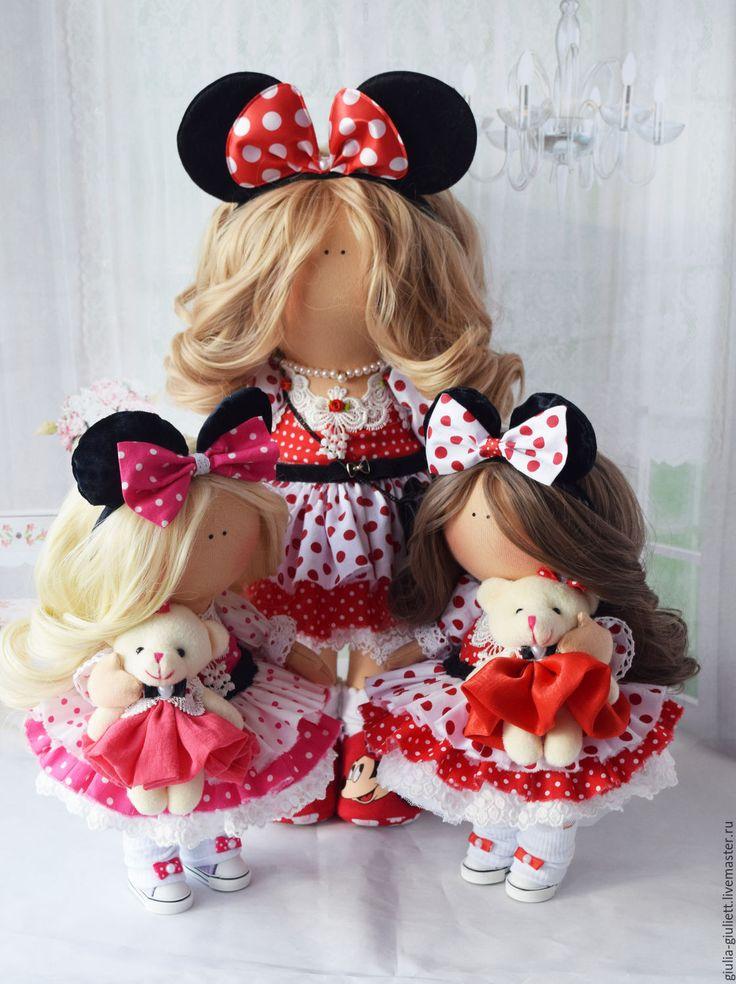Купить Интерьерная куколка. - розовый, кружево, трессы, мишка, кеды, трикотаж, хлопок, кружево, трессы