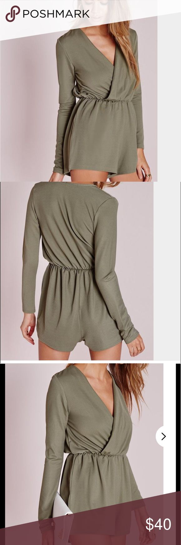 NWT Missguided Playsuit romper, khaki. Size 8. get a party essential with this khaki wrap front romper with long sleeves!   95% polyester 5% elastane Missguided Tops
