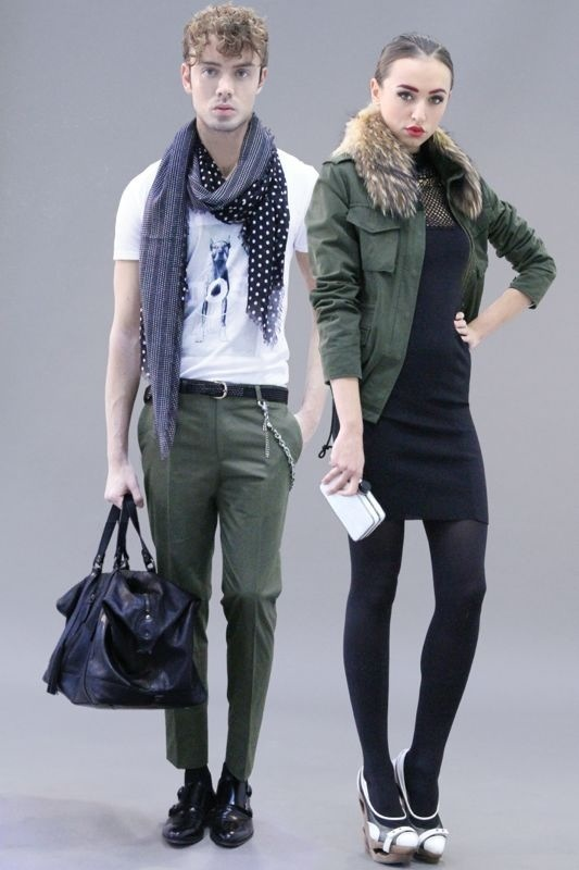 MARIO DICE FW13 white DOG-GOD t shirt / military green pants with chain / black suede shopper bag