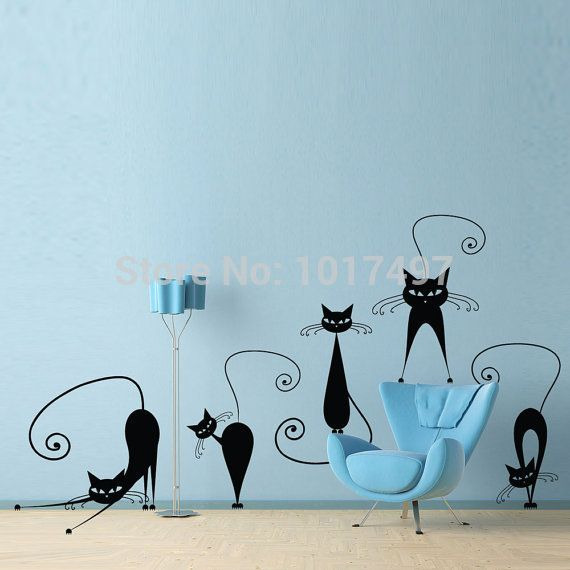 Cute Cat Wall Stickers , set of 5 funny cute cat vinyl wall decal stickers ,free shipping Abstract pussy cat decoration p2037-in Wall Stickers from Home & Garden on Aliexpress.com | Alibaba Group