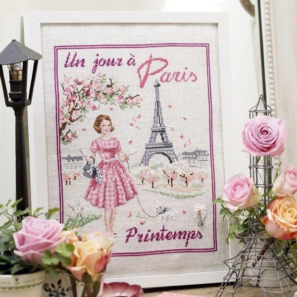 Lin : Un jour à Paris au printemps à broder au point de croix