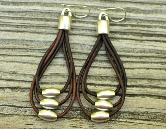 Silver and Leather Earrings Leather Earrings Dangle by amyfine