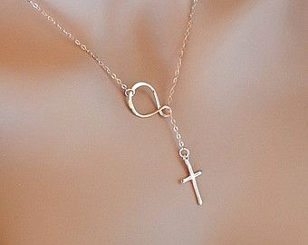 Cross and Infinity Lariat Necklace, Gold, Rose Gold, Sterling Silver, Forever Necklace, Faith Necklace, Sideway Infinity Lariat necklace