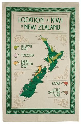 Map Kiwi in NZ Tea Towel