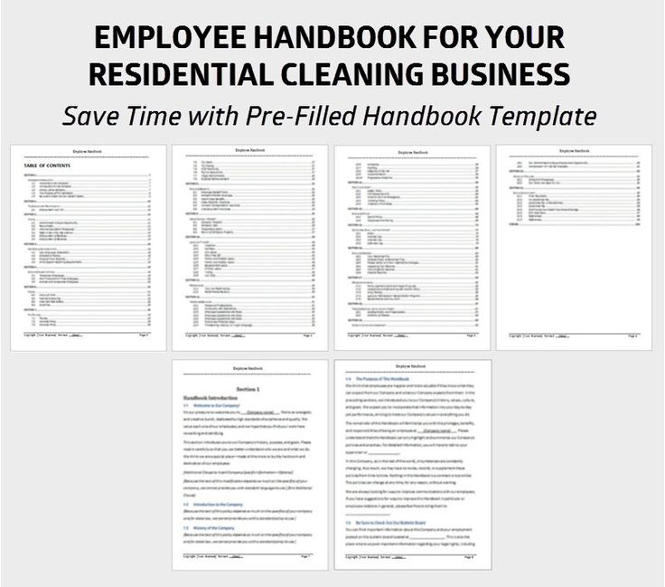 36 best cleaning images on pinterest cleaning cleaning for Free employee handbook template for small business