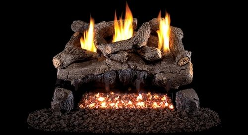 Real Fyre See Thru Evening Fyre Ventless Gas Logs Set with On/Off Remote Pilot Kit