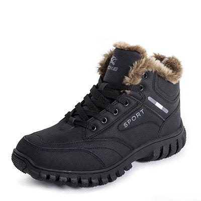 Jingke Men's Sports Plush-Lined Boots Waterproof