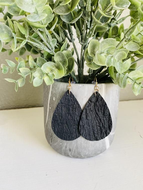 Fast Shipping Made in the USA Black Leather Teardrop Earrings With Bark Pattern Teacher Gift | Nature Inspired